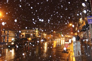 Snowing at night in Park City, UT